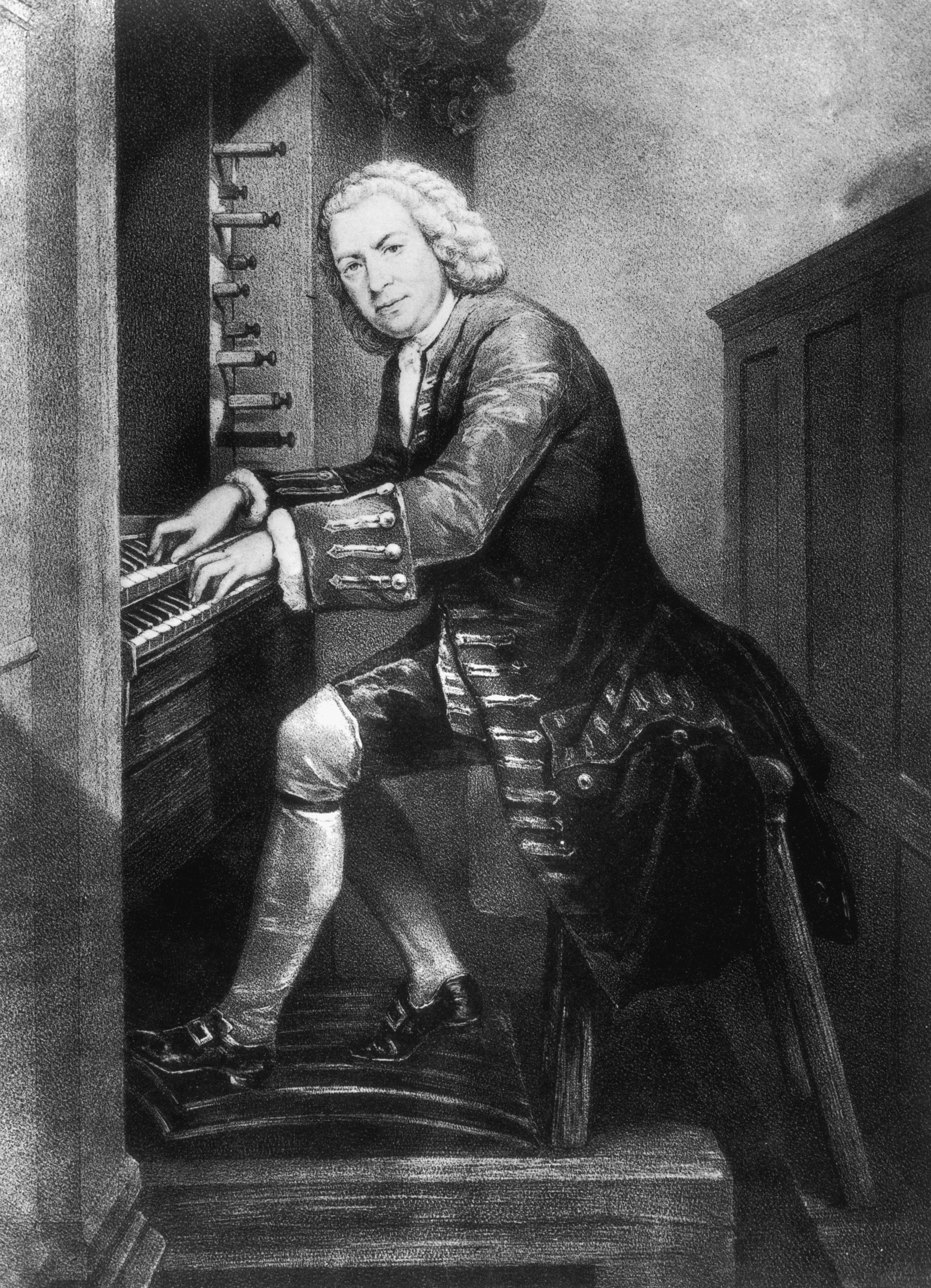 Johann Sebastian BACH à la console d'un orgue, lithographie de W.JAB d'après une gravure d'Edouard HAMMANN, Cliquer sur la photo pour une vue agrandie et quelques infos