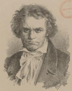 Ludwig van BEETHOVEN, une lithographie de Giuseppe Tivoli, 1880