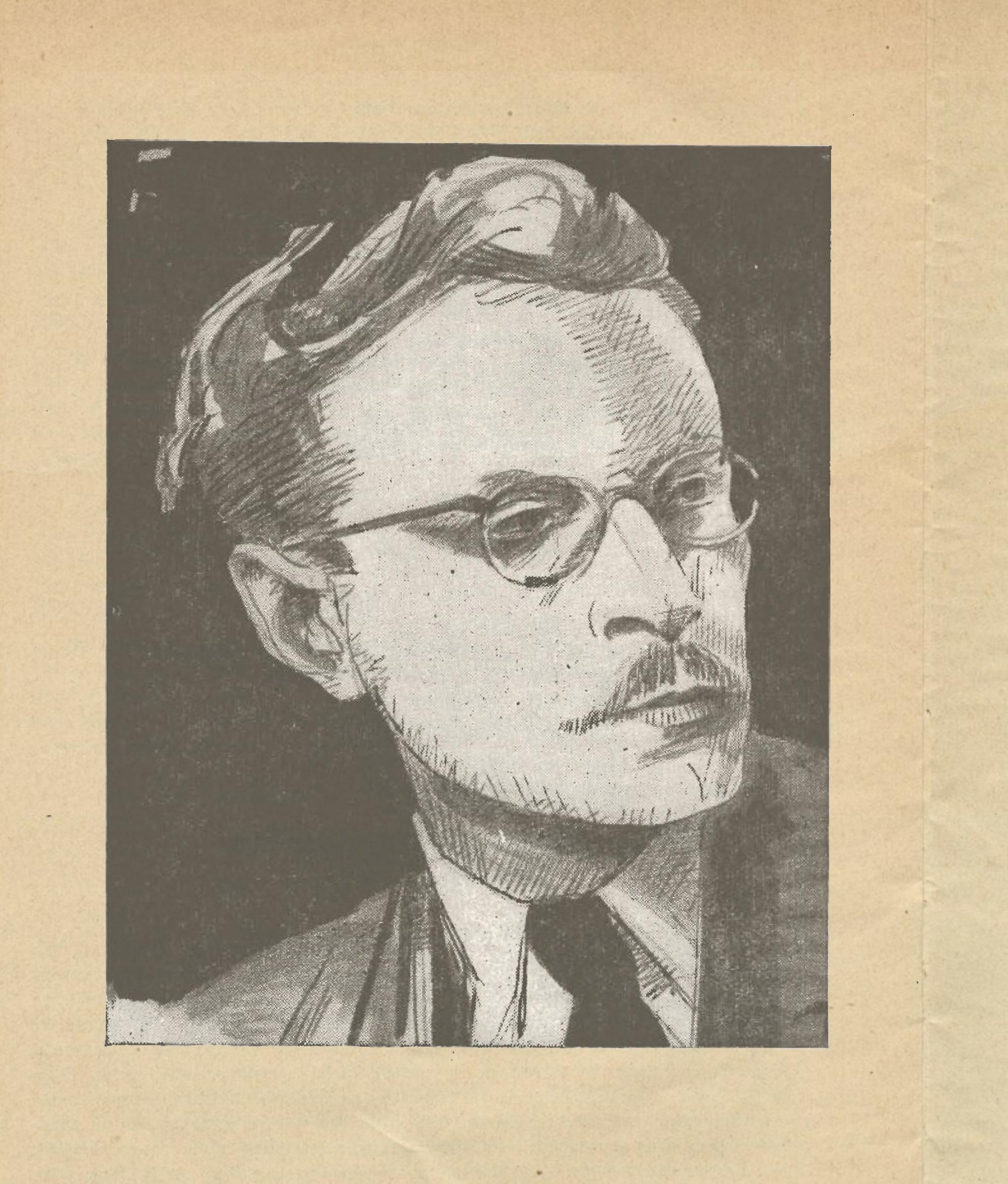 Ernest Borsamsky, Dessin de Ludwig G'schrei, publié entre autres dans la brochure-programme du concert donné le 17 janvier 1949 par l'Orchestre Philharmonique de Berlin sous la direction d'Ernest Borsamsky, Titania-Palast, Steglitz, cliquer pour une vue agrandie