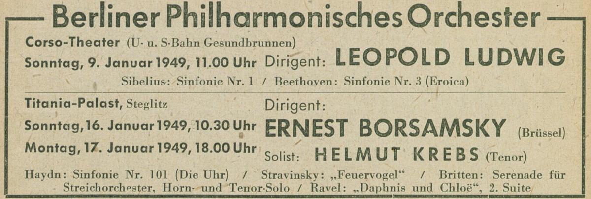 Extrait du Konzertfuehrer Berlin-Brandenburg 1948-1949, page 38, cité des Digitale Sammlungen des Staatlichen Instituts für Musikforschung Preußischer Kulturbesitz, http://digital.sim.spk-berlin.de/viewer/image/775084921-29/38/#1422450868524
