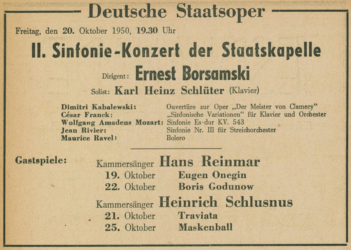 Extrait du Konzertfuehrer Berlin-Brandenburg 1950-1951, page 32, cité des Digitale Sammlungen des Staatlichen Instituts für Musikforschung Preußischer Kulturbesitz, http://digital.sim.spk-berlin.de/viewer/image/775084921-31/32/