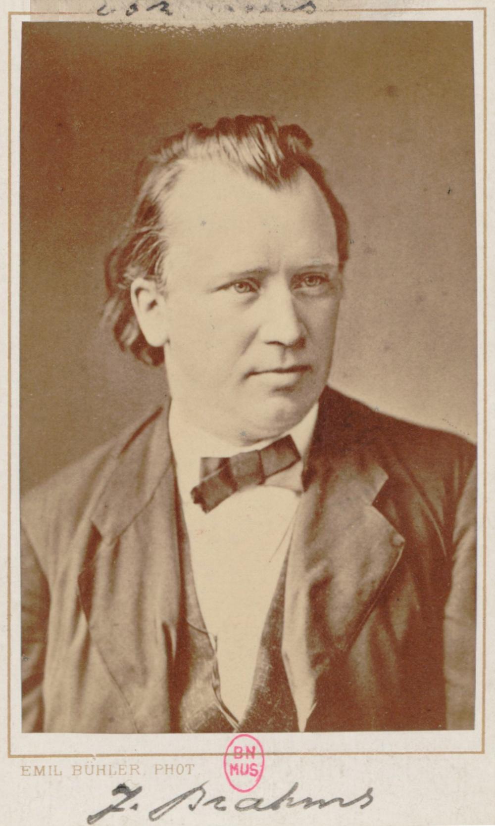 Johannes BRAHMS, un portrait fait par Emil BÜHLER, Bibliothèque Nationale de France, ark:/12148/btv1b8416006, Cliquer sur la photo pour voir l'original et plus d'informations