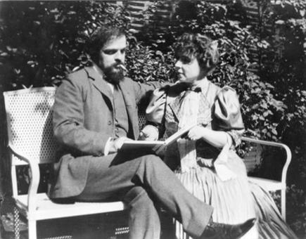 Claude Debussy et son épouse Emma, date exacte, lieu et photographe inconnus