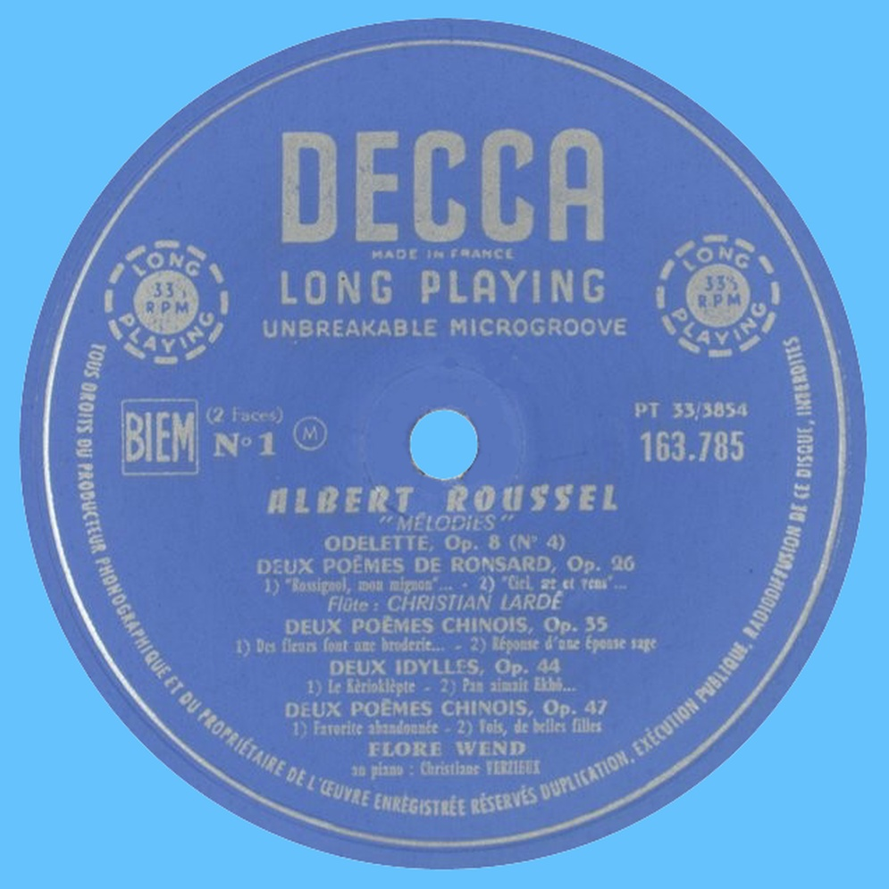 Étiquette du disque DECCA 163.785