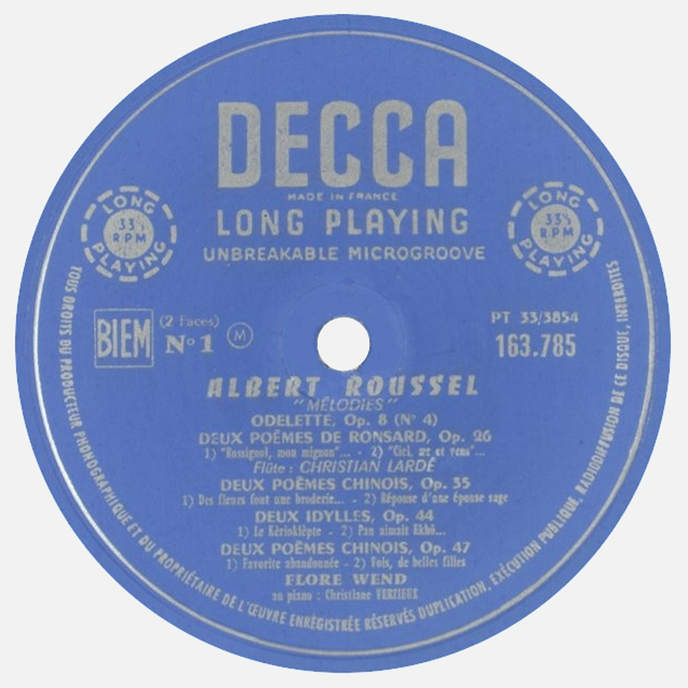 Étiquette du disque DECCA 163.785, cliquer pour plus d'infos