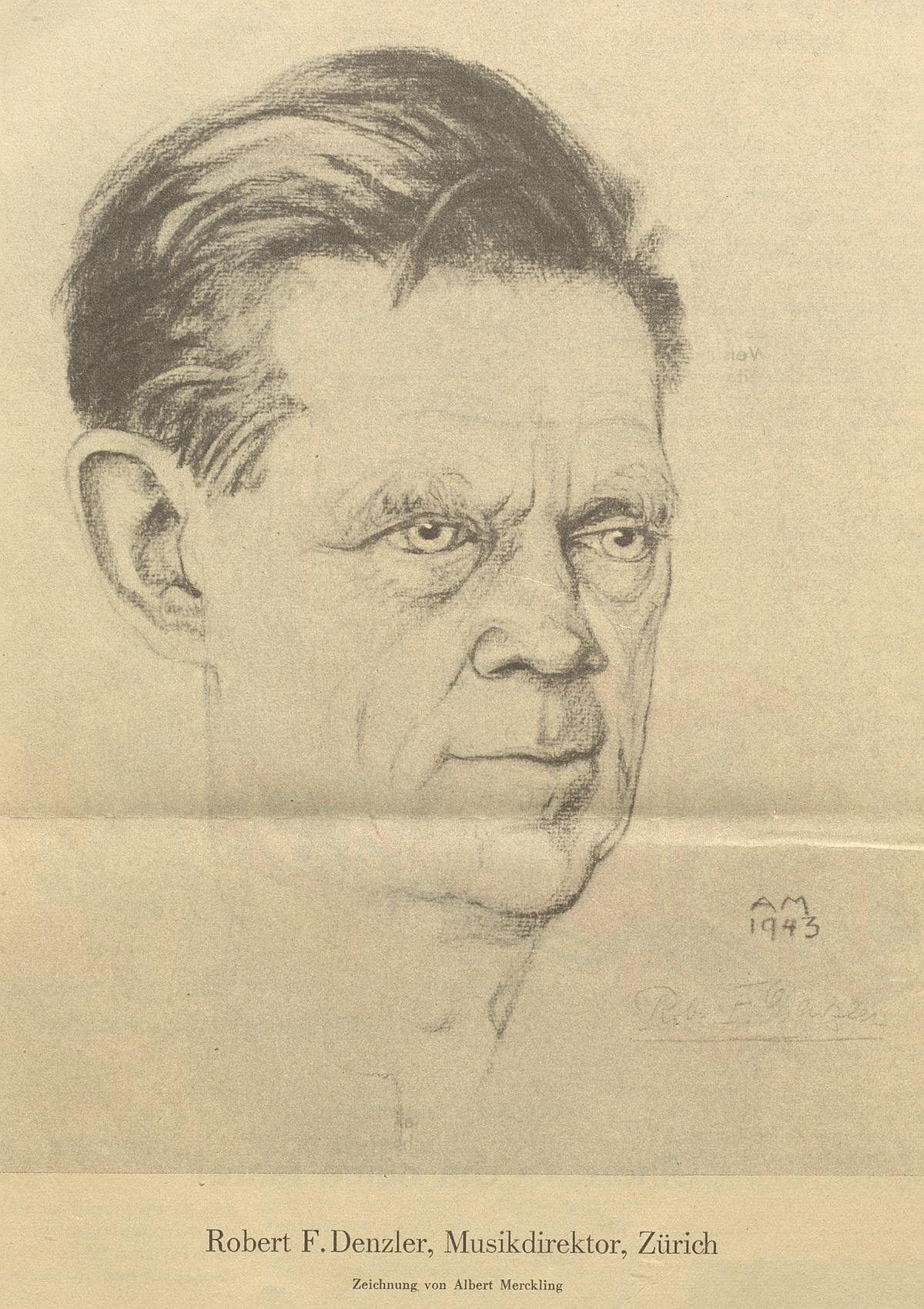 Robert DENZLER, illustration de Albert Merckling parue dans le Nebelspalter de 1944, cahier 21, page 22, cliquer pour voir l'original