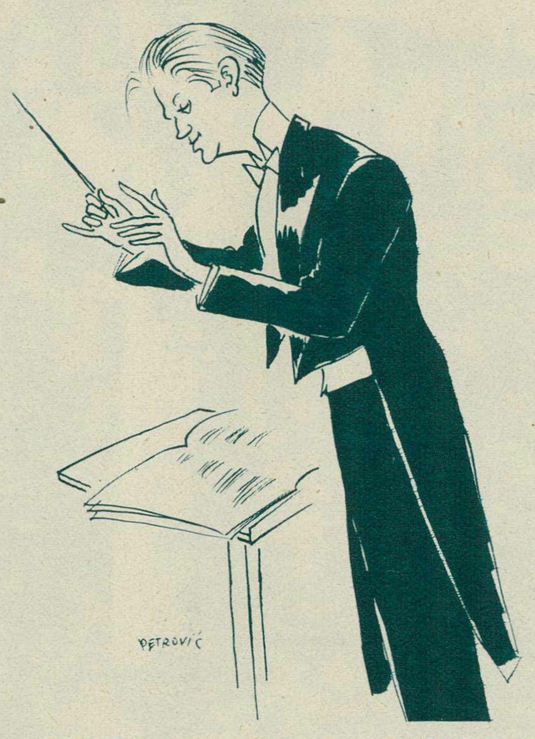 Robert DENZLER croqué par PETROVIC, 1935, un dessin paru - entre autres - dans la revue Le Radio du 8 novembre 1935 en page 2114, cliquer pour une vue agrandie