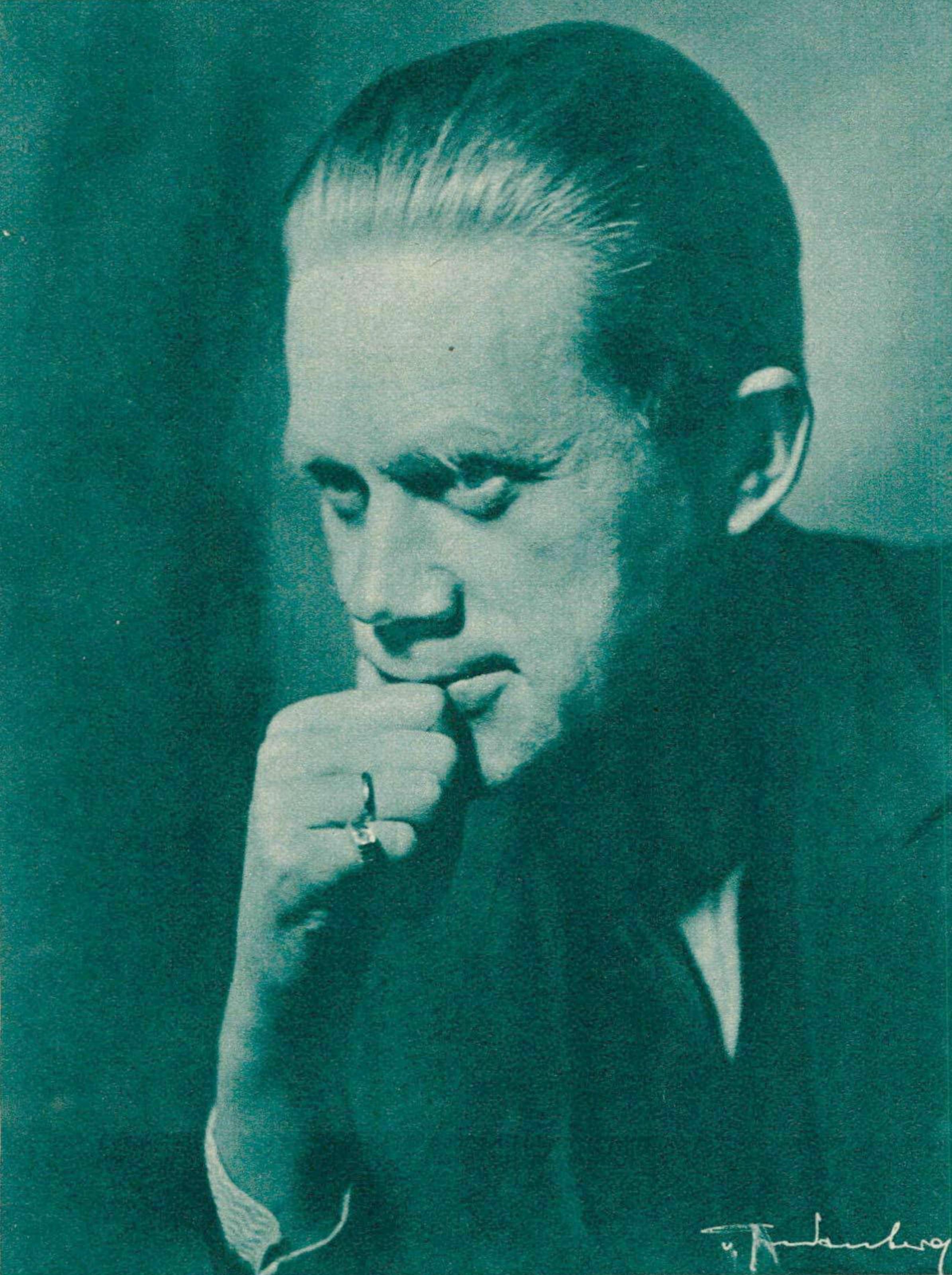Robert DENZLER vers 1935, un portrait fait par Wolff von Gredenberg, Berlin paru - entre autres - dans la revue Le Radio du 8 novembre 1935, page 212, cliquer pour une vue agrandie