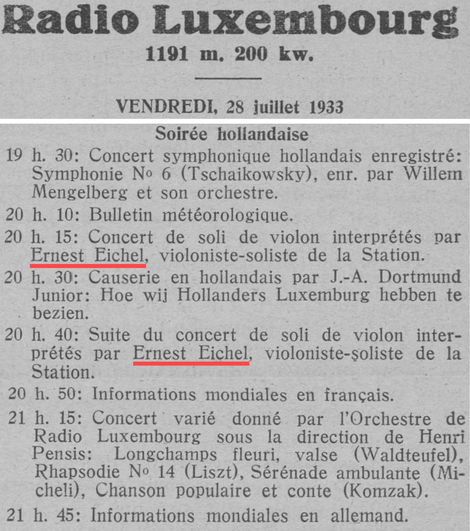 Extrait de l'hebomadaire «L'indépendance luxembourgeoise» du 27 juillet 1933, page 3, cliquer pour une vue agrandie
