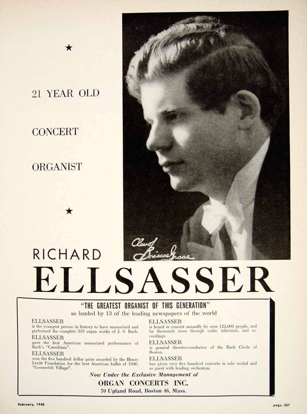 Richard ELLSASSER, insert publicitaire datant de févier 1948
