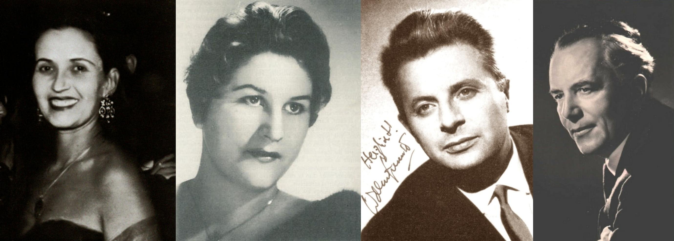 De gauche à droite: Magda László (S), Hilde Rössel-Majdan (A), Waldemar Kmentt (T), Alfred Poell (B)