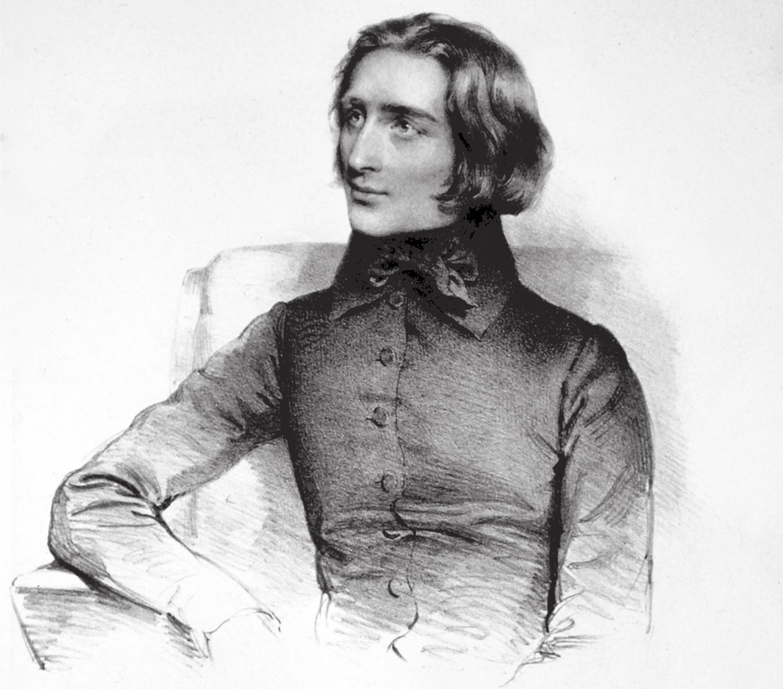 Le jeune Franz LISZT, lithographie de 1838