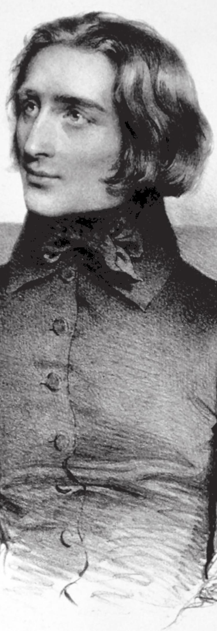 Le jeune Franz LISZT, extrait d'une lithographie de 1838