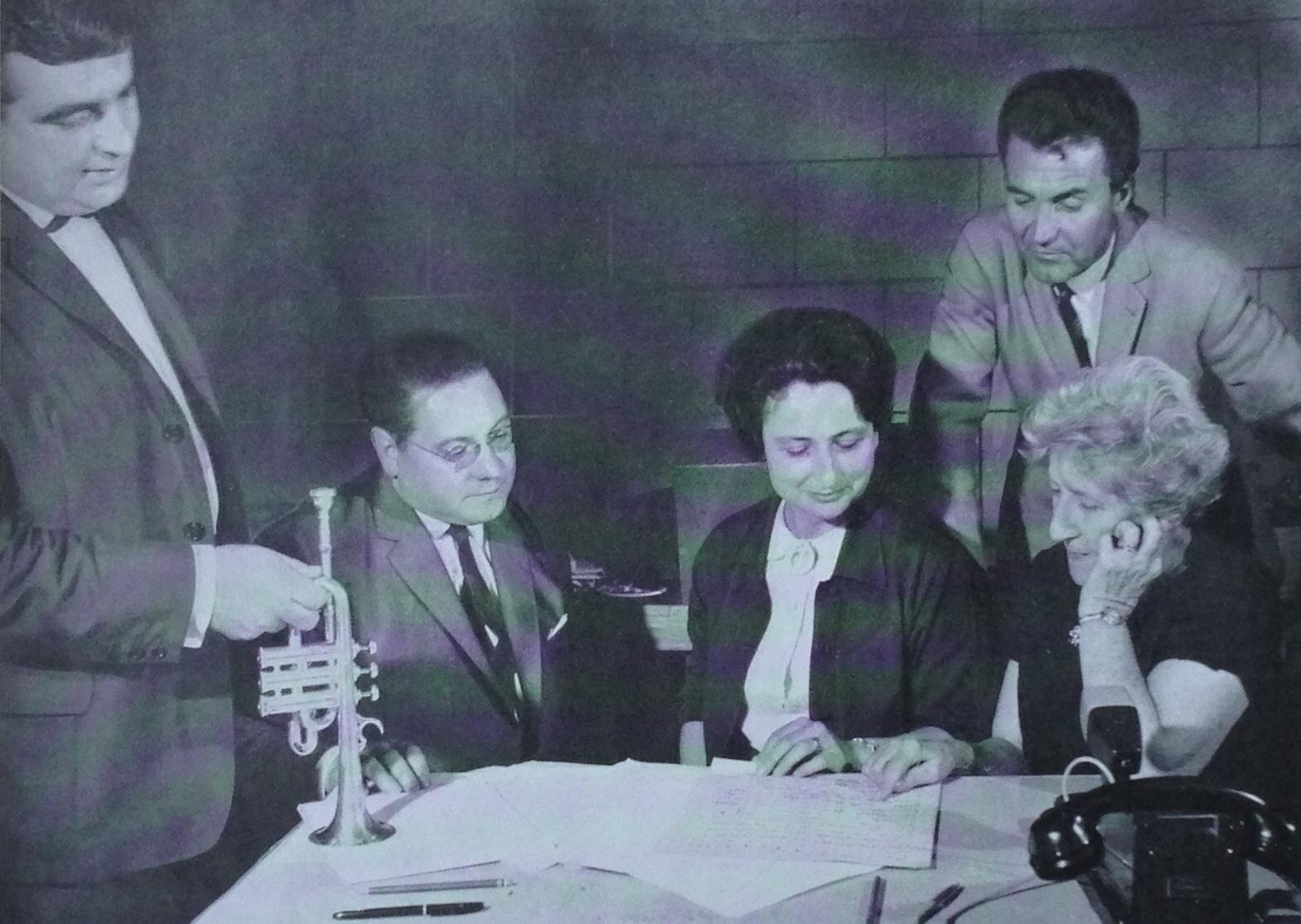 De gauche à droite: Maurice André, Pierre Pierlot, Marie-Claire Alain, Robert Veyron-Lacroix et Lily Laskine