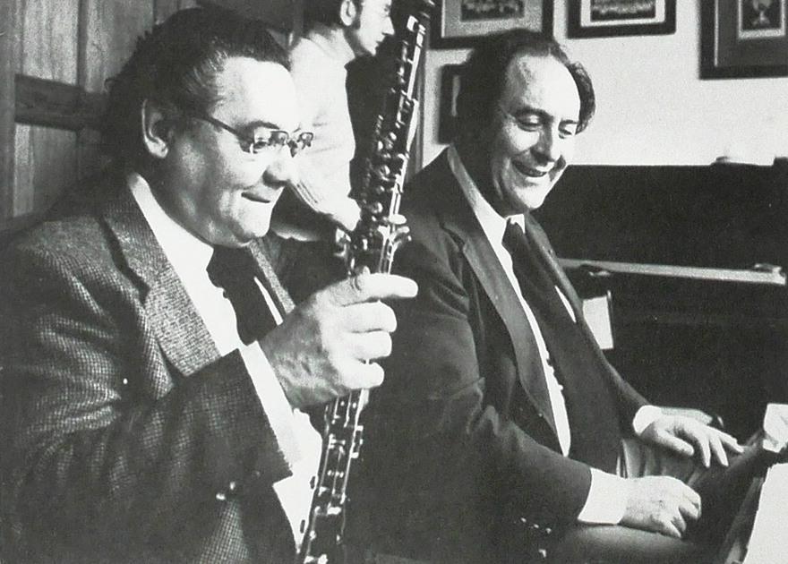 Pierre Pierlot et Jean-Pierre Rampal, date, lieu et photographe inconnus