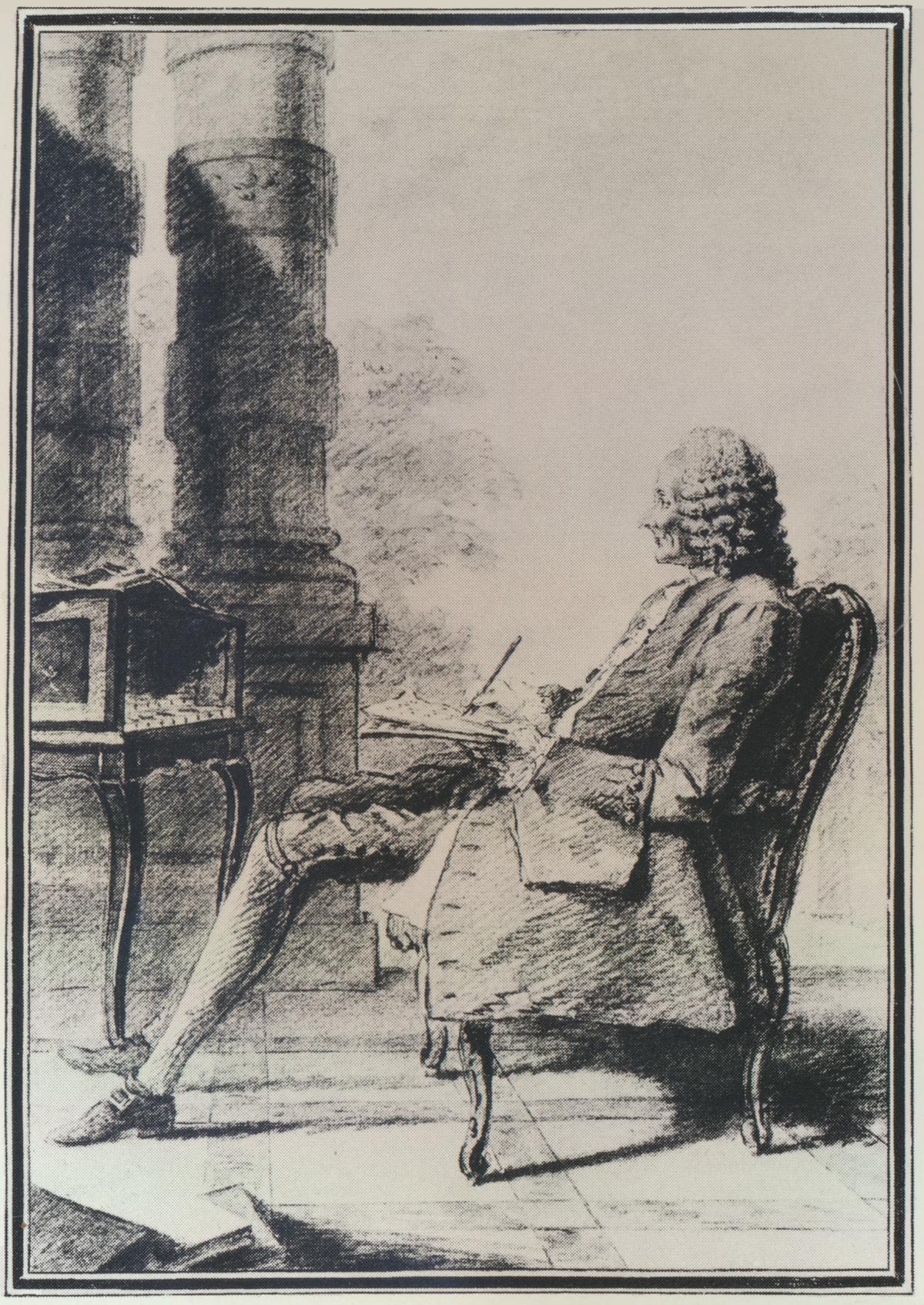 Jean-Philippe RAMEAU, un dessin de CARMONTELLE, Musée Condé, Chantilly