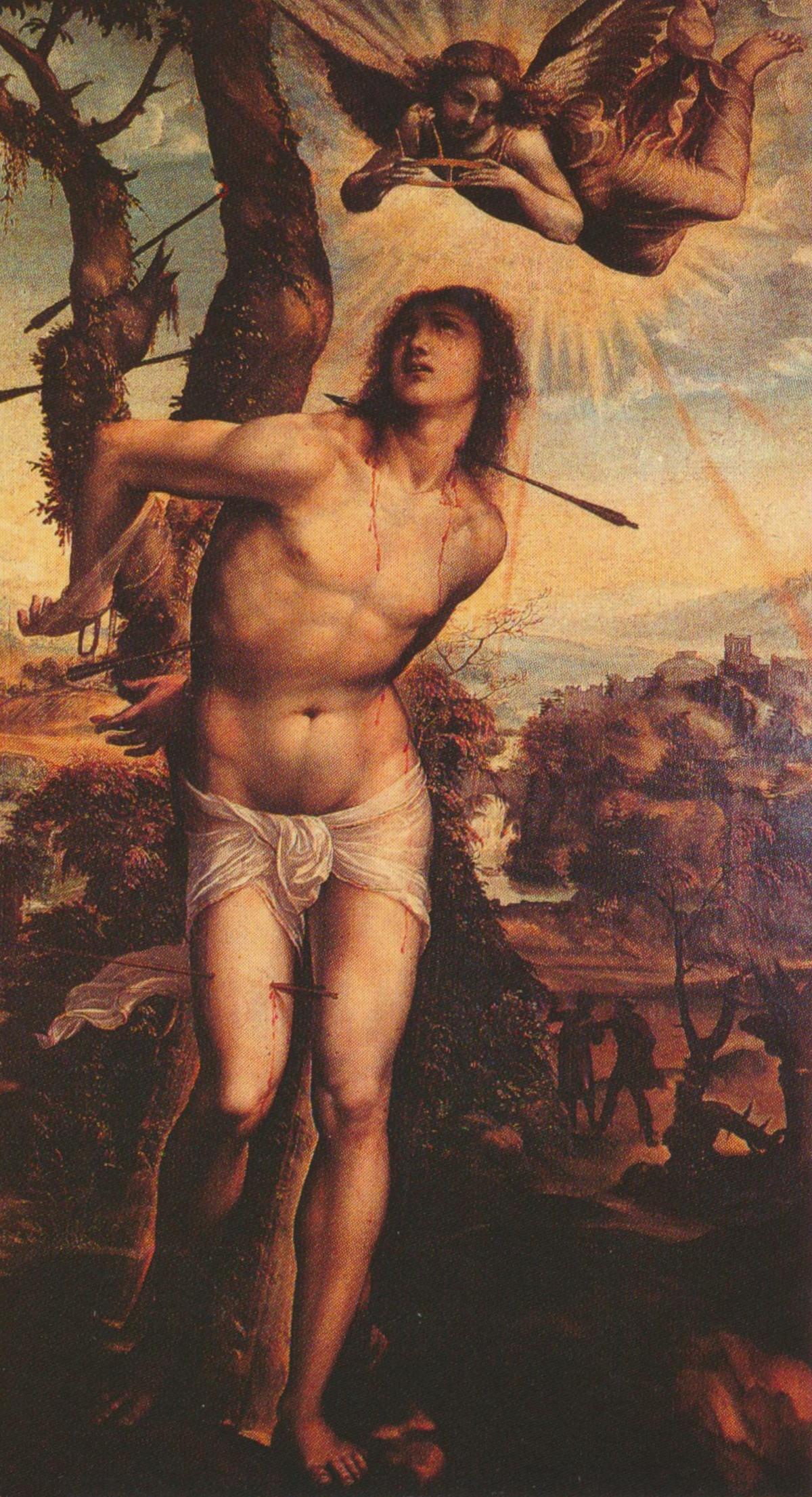 Saint Sébastien, une peinture de Giovanni Antonio Bazzi (Il Sodoma), Galerie Palatine, Florence