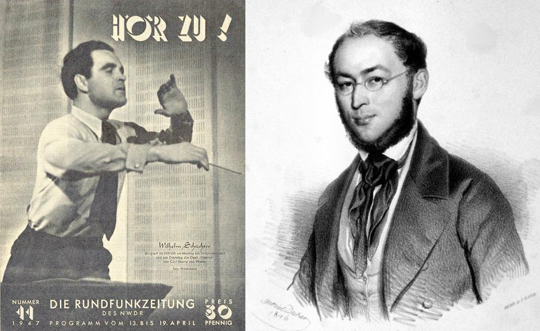 Wilhelm Schüchter (photo couverture Hör Zu Nr. 11, 1947) et Franz von Suppè (litographie de Gabriel Decker, 1846
