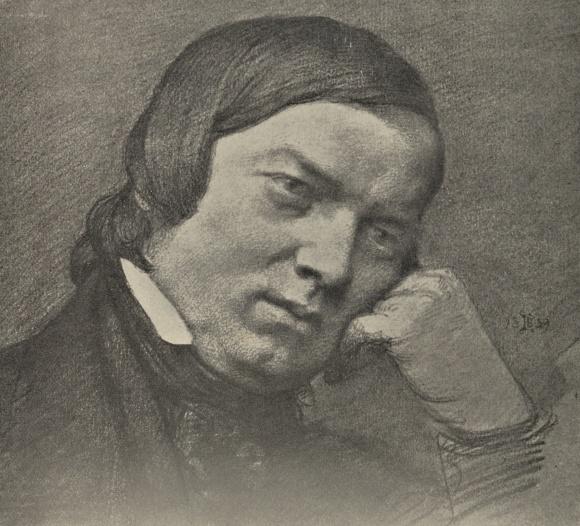 Robert SCHUMANN, dessin au fusain de Eduard Bendemann, 1859
