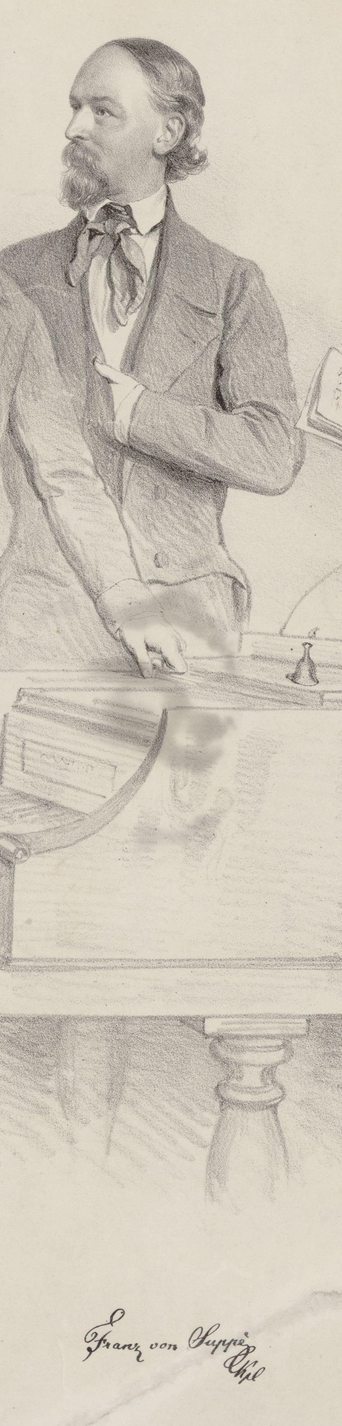 Franz von SUPPÈ, extrait d'une gravure de Josef Kriehuber, 1852, cliquer pour voir l'original et ses références sur le site GALLICA