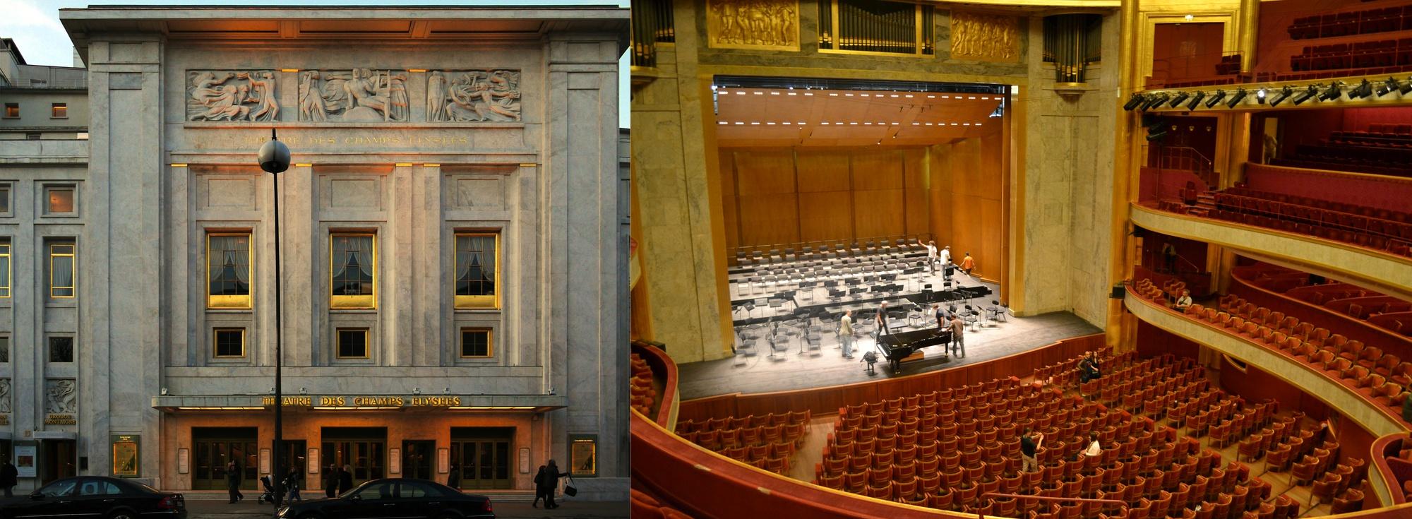 Façade et intérieur du Théâtre des Champs-Élysées