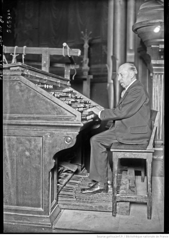Charles-Marie Widor, 25/2/27, remise des orgues restaurées du Trocadéro, photographie de presse Agence Rol, Gallica, Cliquer sur la photo pour l'original et ses références